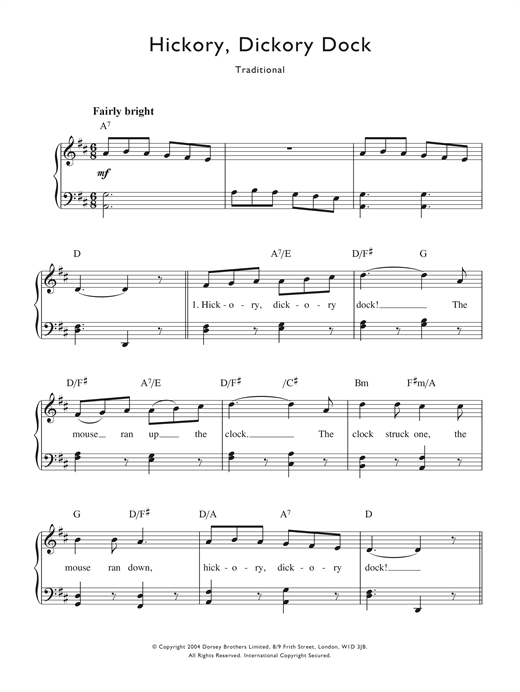 Traditional Nursery Rhyme Hickory Ory Dock Sheet Music Notes Chords Printable Piano Vocal Sku 122568
