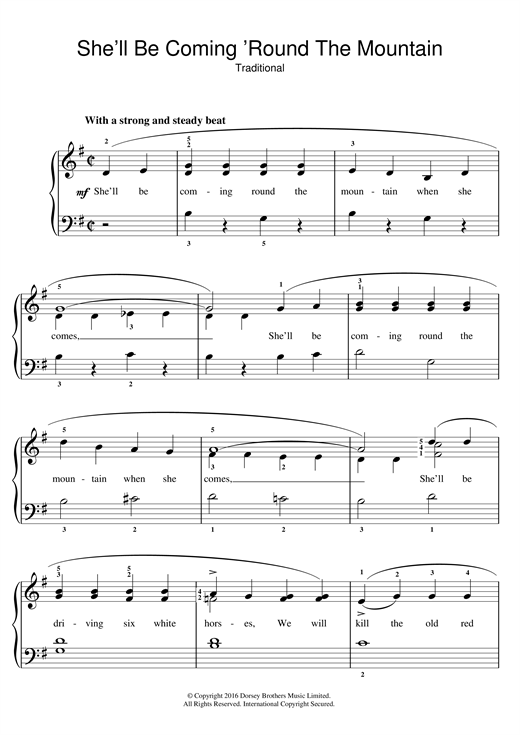 Traditional Nursery Rhyme She Ll Be Coming Round The Mountain Sheet Music Notes Chords Printable Easy Piano Sku 123552