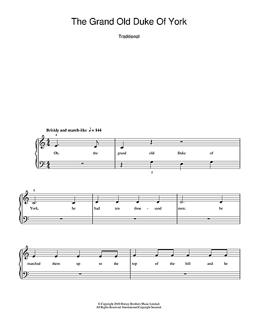 Traditional Nursery Rhyme The Grand Old Duke Of York sheet music notes and chords. Download Printable PDF.