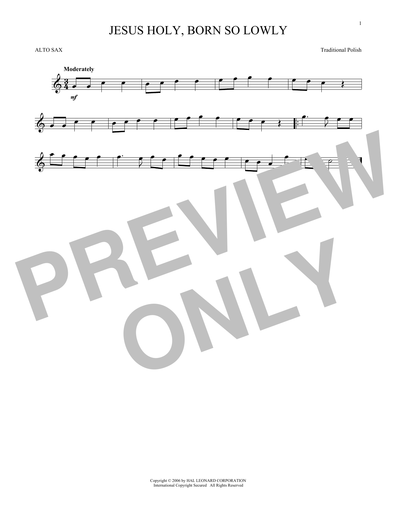 Traditional Carol Jesus Holy, Born So Lowly sheet music notes and chords. Download Printable PDF.