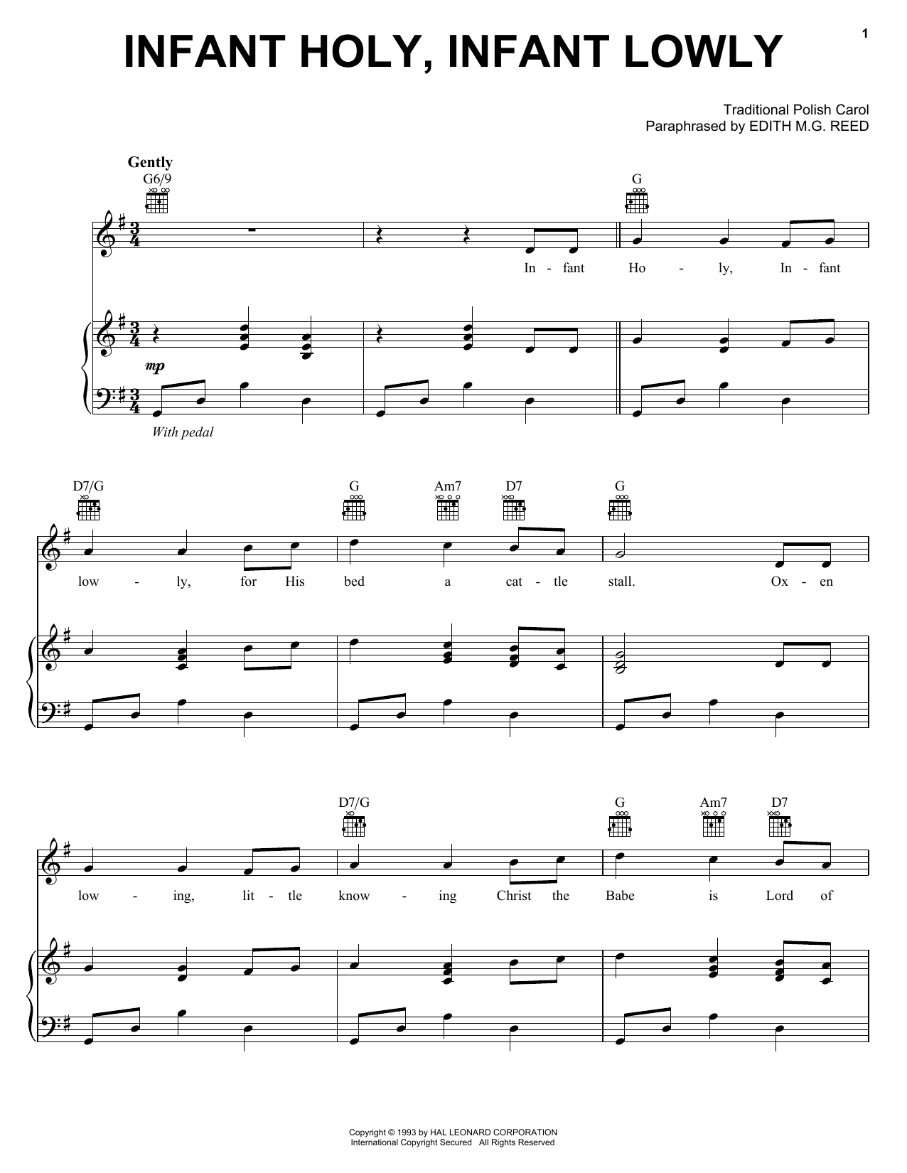 Traditional Polish Carol Infant Holy, Infant Lowly sheet music notes and chords. Download Printable PDF.