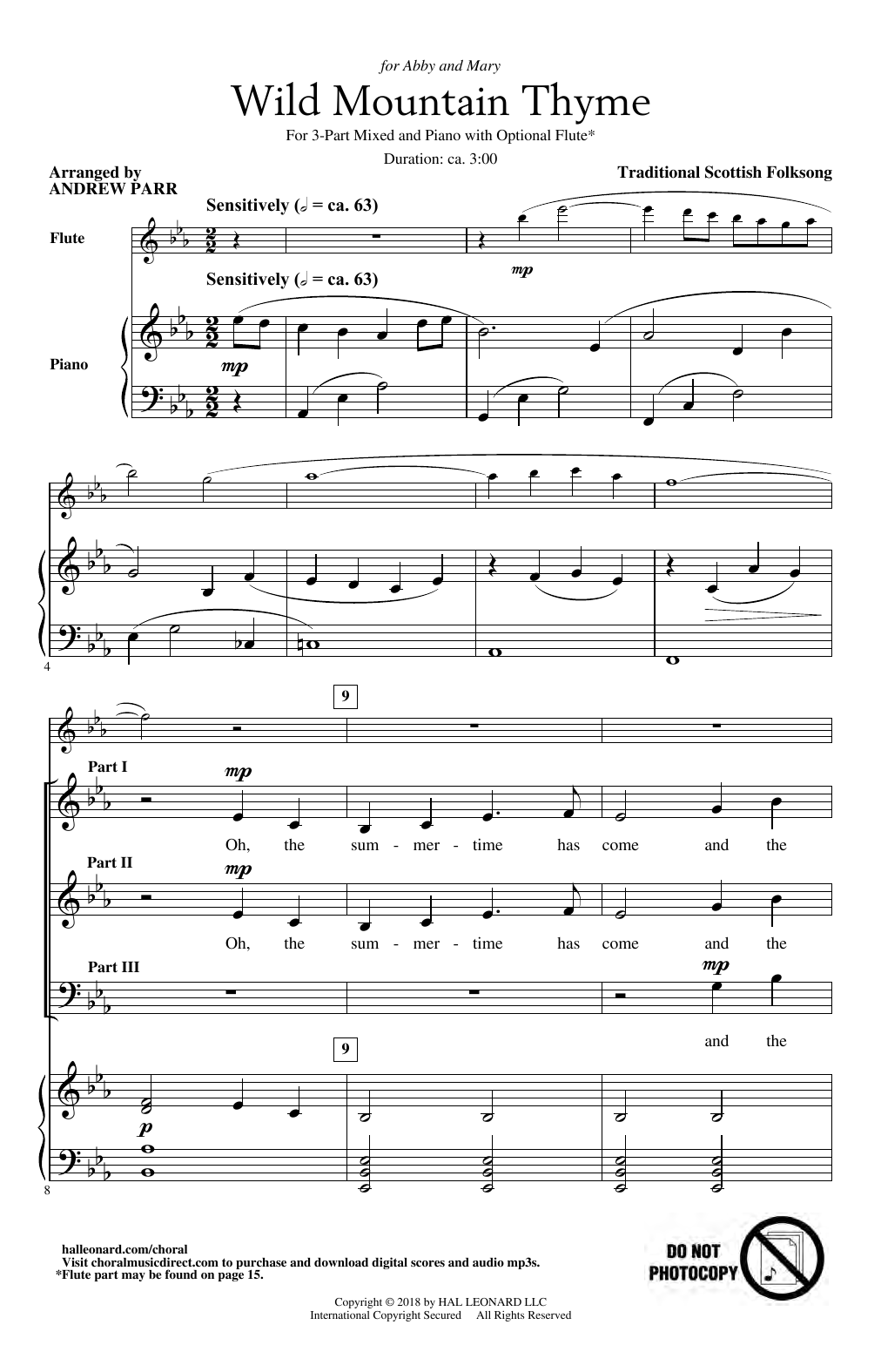 Traditional Scottish Folk Song Wild Mountain Thyme (arr. Andrew Parr) sheet music notes and chords