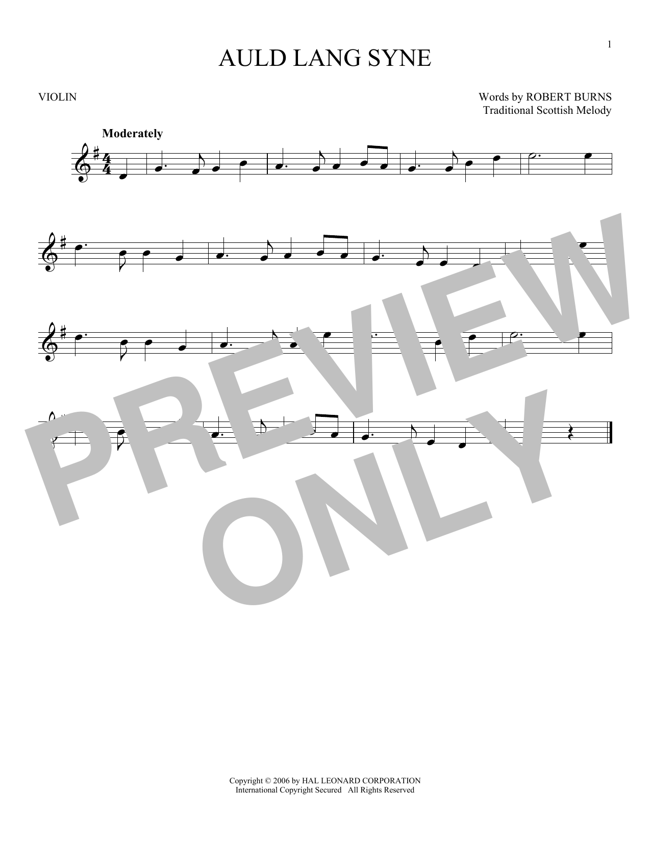 Traditional Scottish Melody Auld Lang Syne sheet music notes and chords. Download Printable PDF.