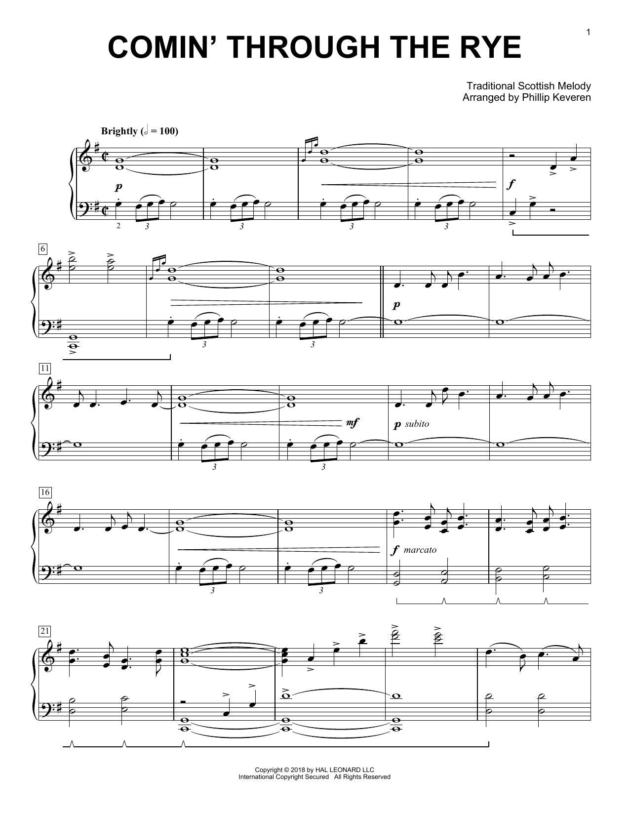 Traditional Scottish Melody Comin' Through The Rye [Classical version] (arr. Phillip Keveren) sheet music notes and chords