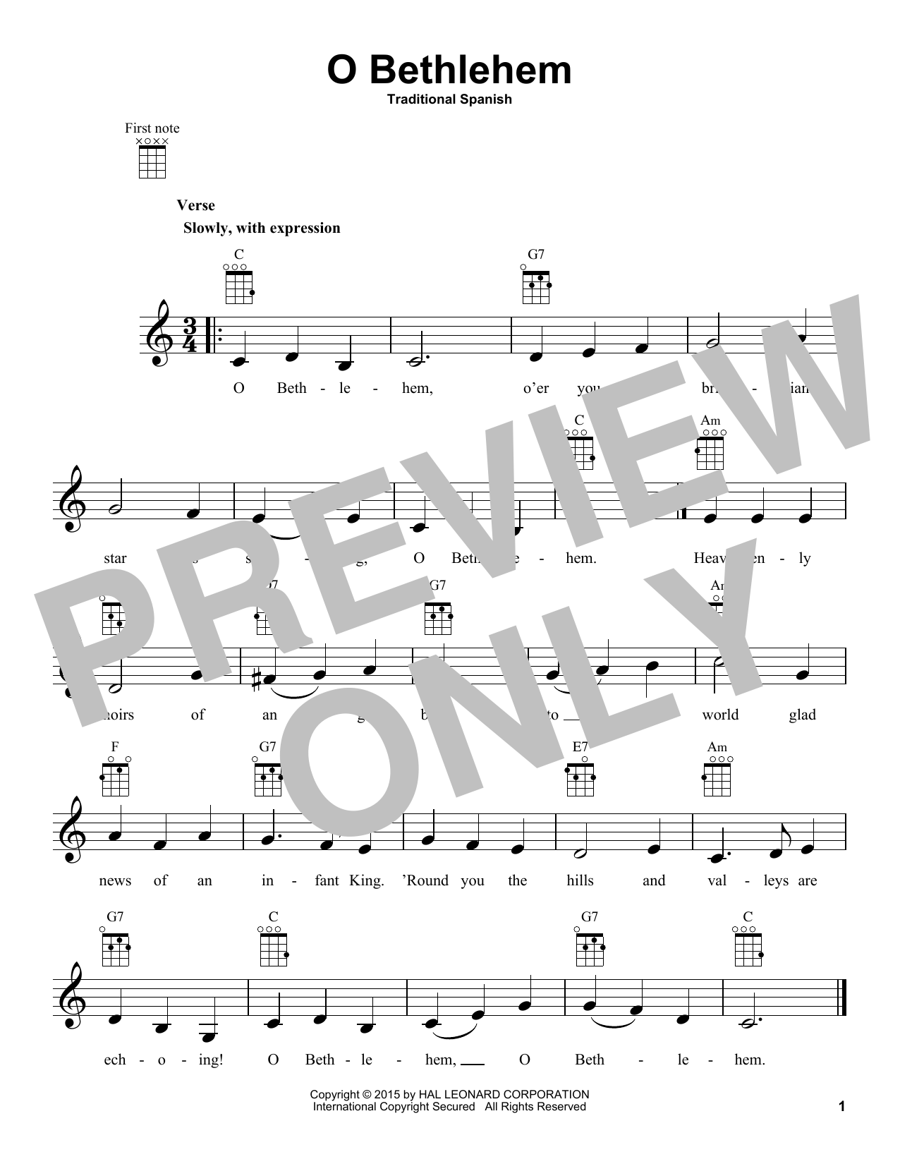 Traditional Carol O Bethlehem sheet music notes and chords. Download Printable PDF.