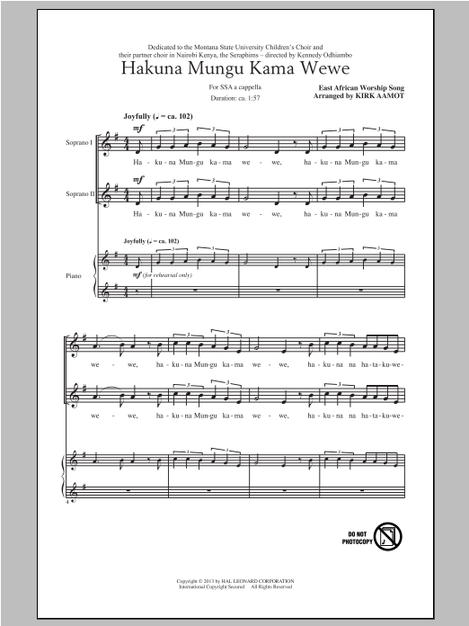 Traditional Spiritual Hakuna Mungu Kama Wewe (arr. Kirk Aamot) sheet music notes and chords. Download Printable PDF.