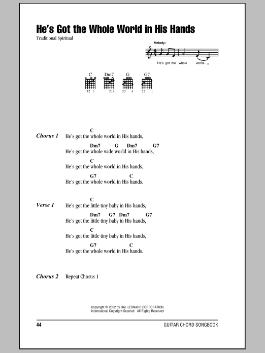 Traditional Spiritual He's Got The Whole World In His Hands sheet music notes and chords. Download Printable PDF.