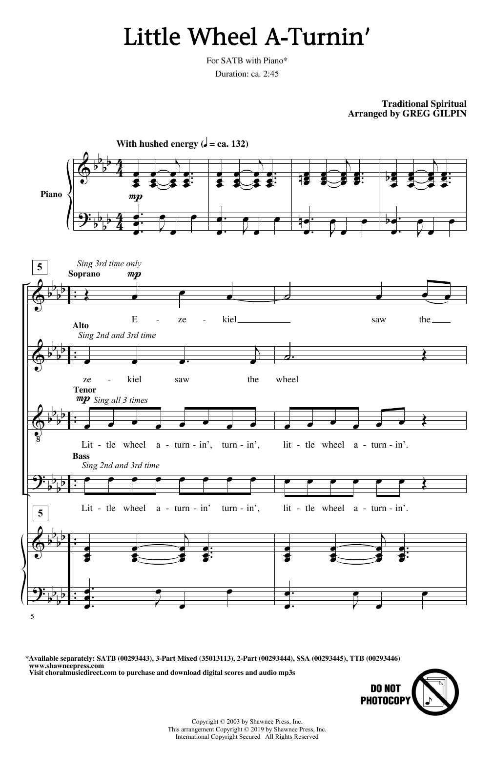 Traditional Spiritual Little Wheel A-Turnin' (arr. Greg Gilpin) sheet music notes and chords. Download Printable PDF.