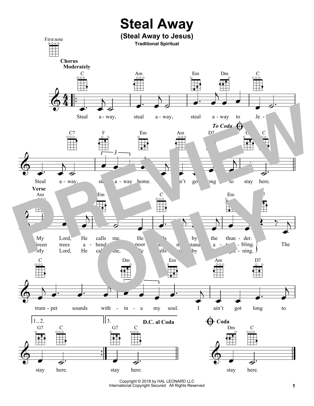 African-American Spiritual Steal Away (Steal Away To Jesus) sheet music notes and chords. Download Printable PDF.