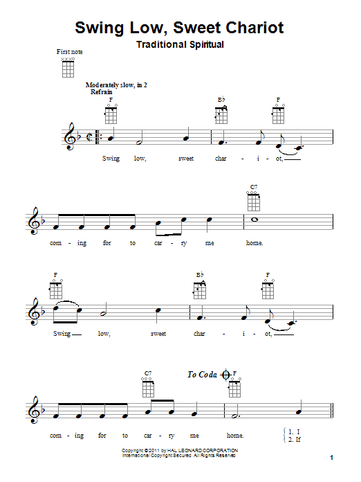 Traditional Spiritual Swing Low, Sweet Chariot sheet music notes and chords