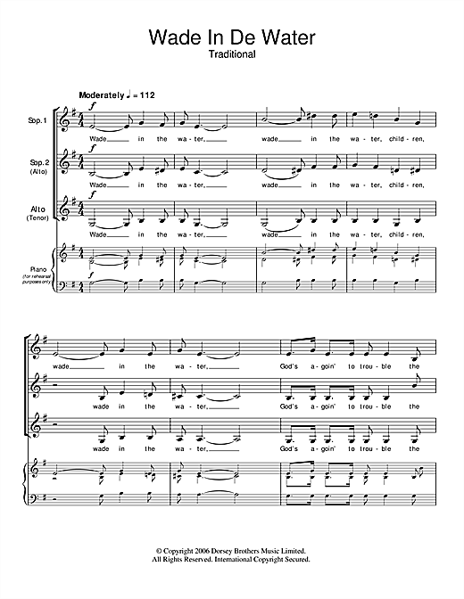 Traditional Spiritual Wade In The Water sheet music notes and chords. Download Printable PDF.