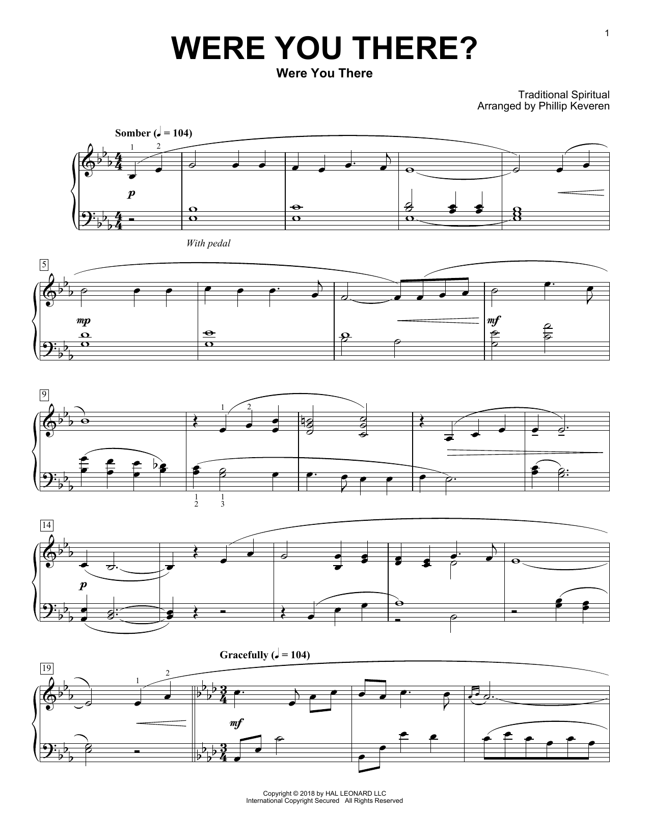 Traditional Spiritual Were You There? [Classical version] (arr. Phillip Keveren) sheet music notes and chords. Download Printable PDF.