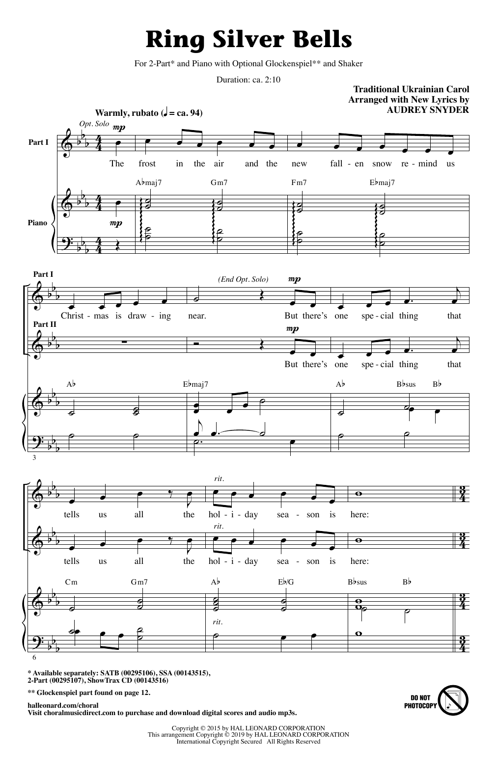 Traditional Ukrainian Carol Ring Silver Bells (arr. Audrey Snyder) sheet music notes and chords. Download Printable PDF.