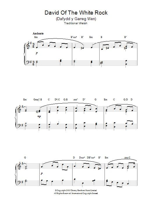 Welsh Folksong David Of The White Rock sheet music notes and chords. Download Printable PDF.