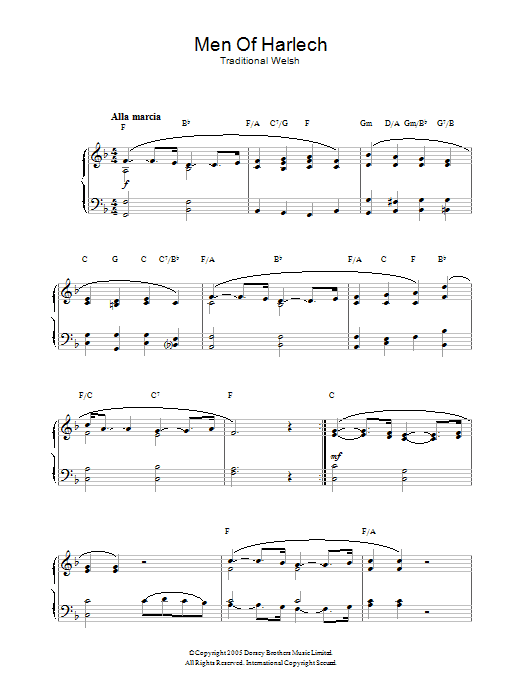 Welsh Folksong Men Of Harlech sheet music notes and chords. Download Printable PDF.