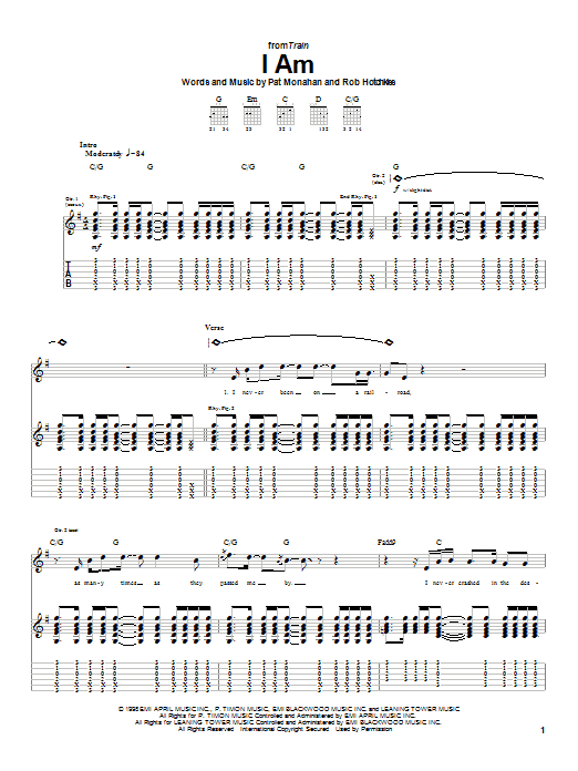 Train I Am sheet music notes and chords