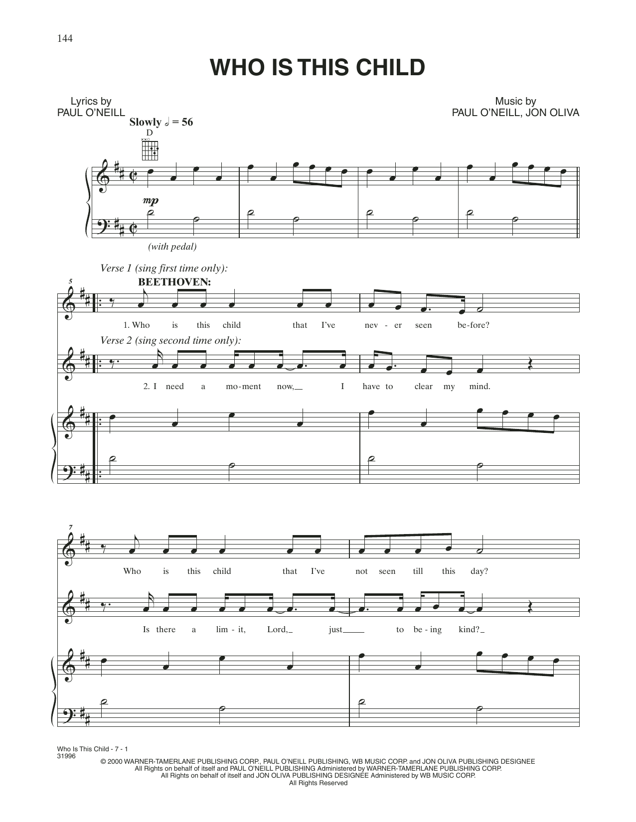 """Trans-Siberian Orchestra """"Who Is This Child"""" Sheet Music PDF Notes, Chords 