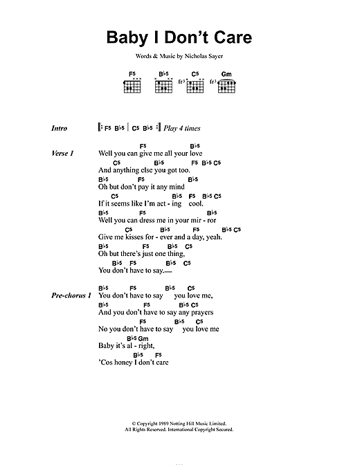 Transvision Vamp Baby I Don't Care sheet music notes and chords. Download Printable PDF.
