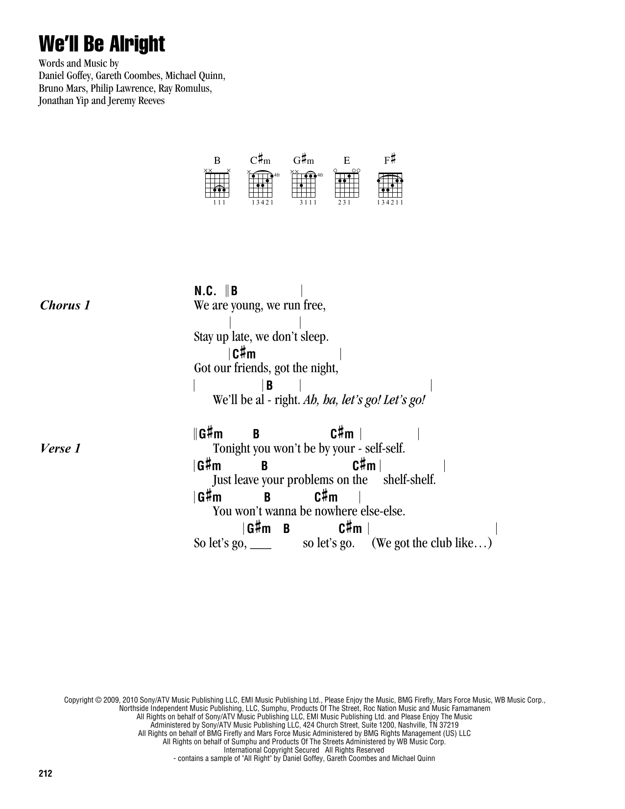 Travie McCoy We'll Be Alright sheet music notes and chords. Download Printable PDF.