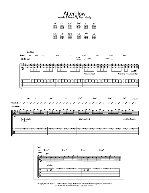 Travis Afterglow sheet music notes and chords. Download Printable PDF.
