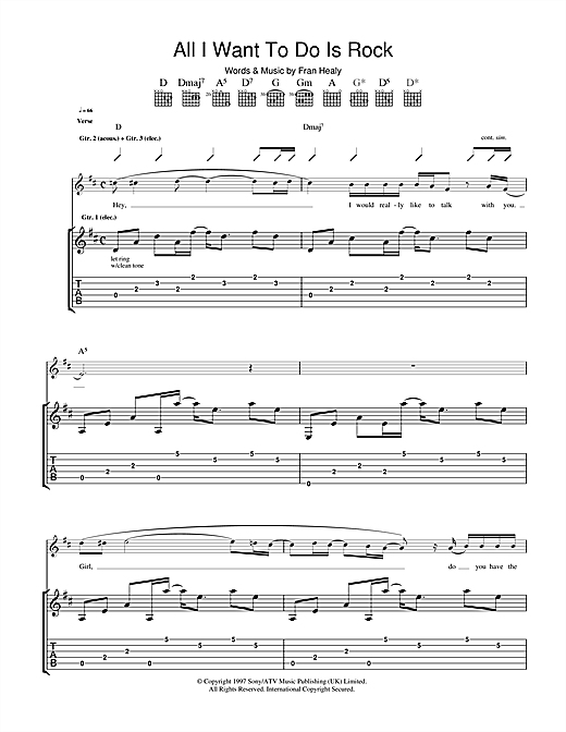 Travis All I Want To Do Is Rock sheet music notes and chords. Download Printable PDF.