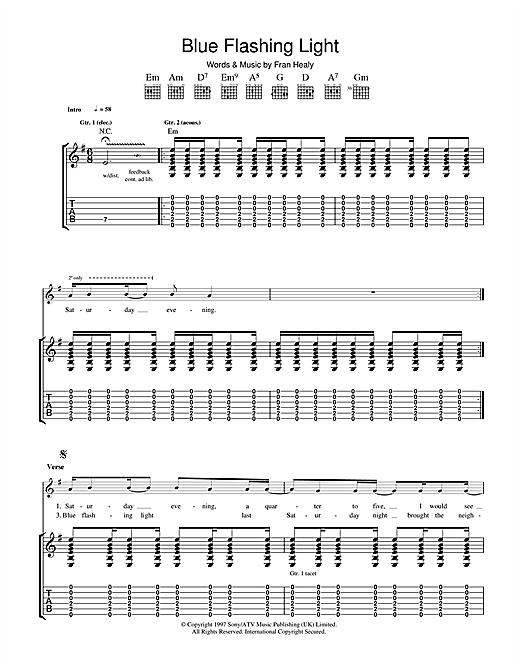 Travis Blue Flashing Light sheet music notes and chords. Download Printable PDF.