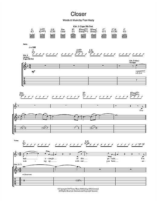 Travis Closer sheet music notes and chords