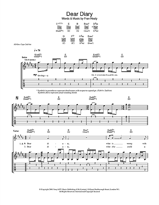 Travis Dear Diary sheet music notes and chords. Download Printable PDF.