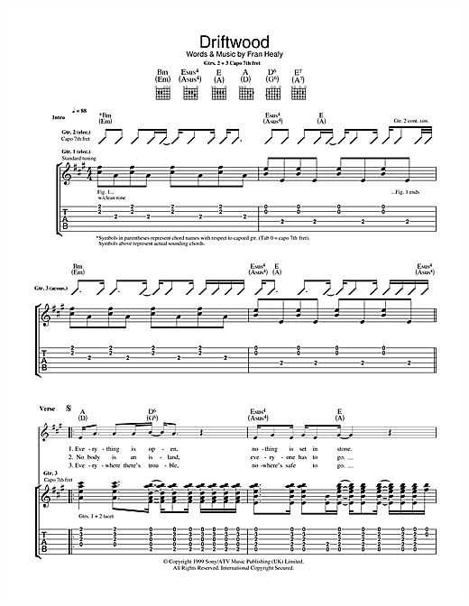 Travis Driftwood sheet music notes and chords. Download Printable PDF.