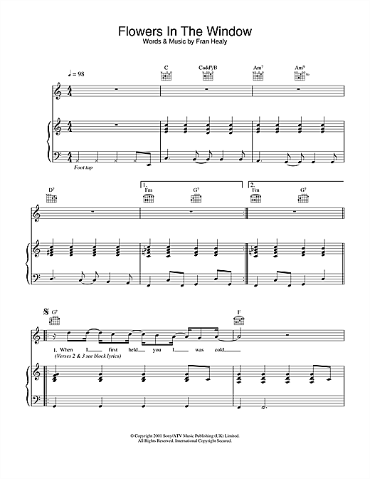Travis Flowers In The Window sheet music notes and chords. Download Printable PDF.