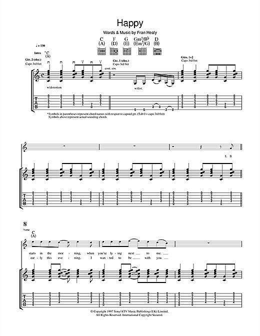 Travis Happy sheet music notes and chords. Download Printable PDF.