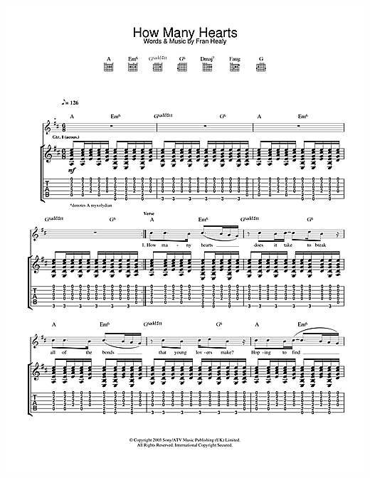 Travis How Many Hearts sheet music notes and chords. Download Printable PDF.