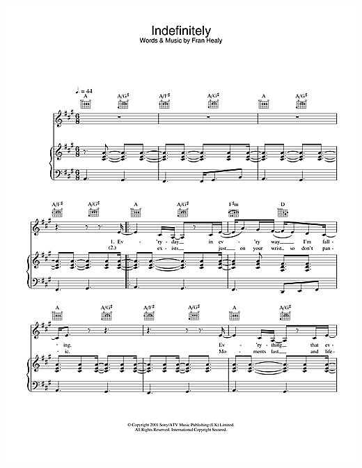 Travis Indefinitely sheet music notes and chords. Download Printable PDF.