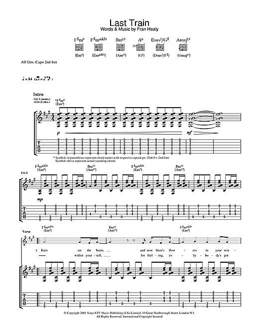 Travis Last Train sheet music notes and chords. Download Printable PDF.