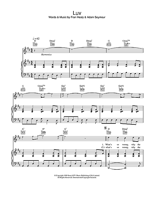 Travis Luv sheet music notes and chords. Download Printable PDF.
