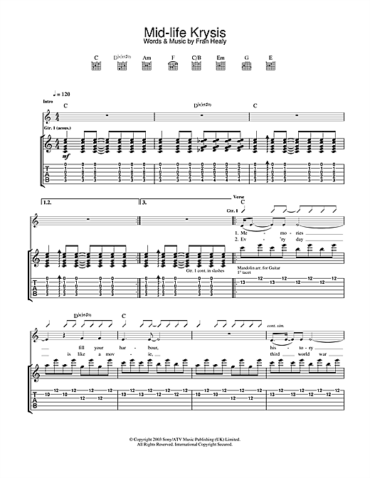 Travis Mid-life Krysis sheet music notes and chords. Download Printable PDF.