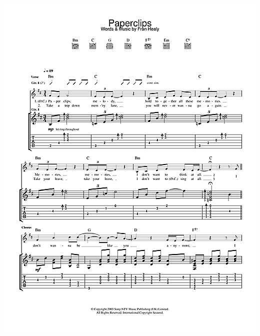 Travis Paperclips sheet music notes and chords. Download Printable PDF.