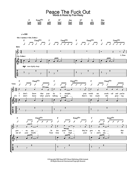 Travis Peace The Fuck Out sheet music notes and chords. Download Printable PDF.