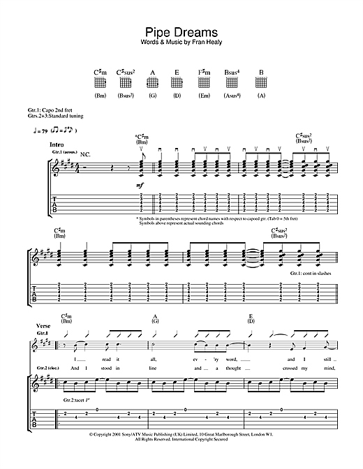 Travis Pipe Dreams sheet music notes and chords. Download Printable PDF.