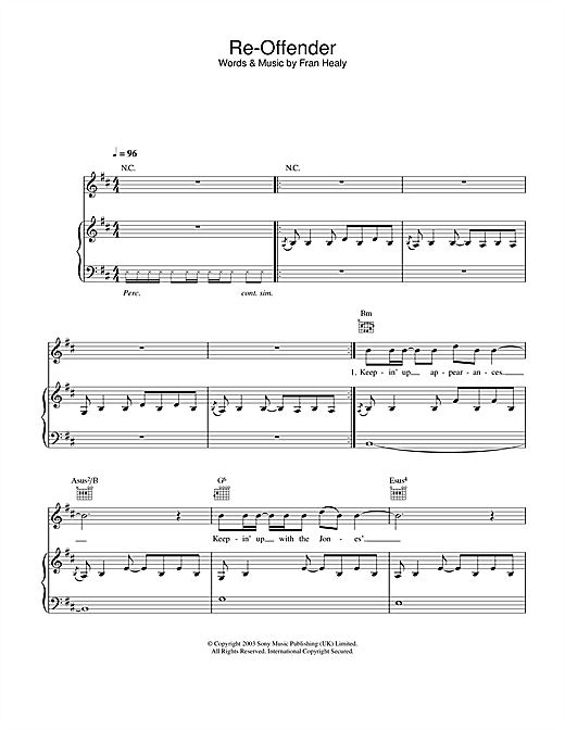 Travis Re-Offender sheet music notes and chords. Download Printable PDF.