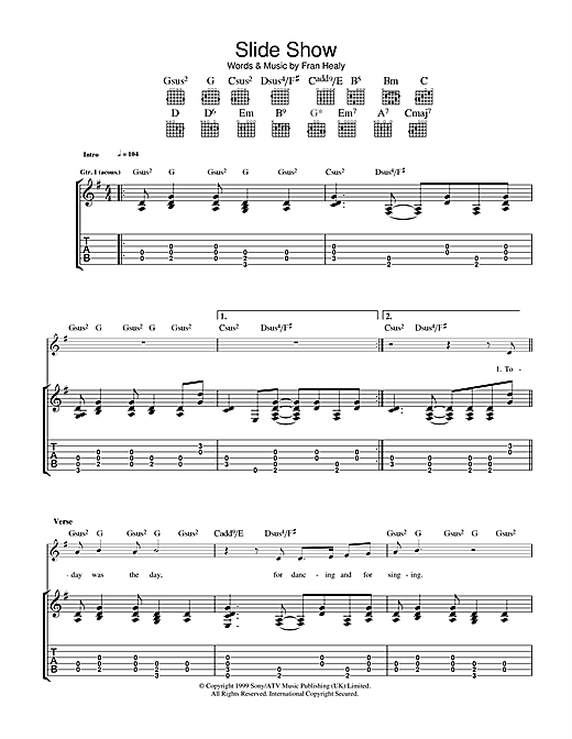 Travis Slide Show sheet music notes and chords. Download Printable PDF.