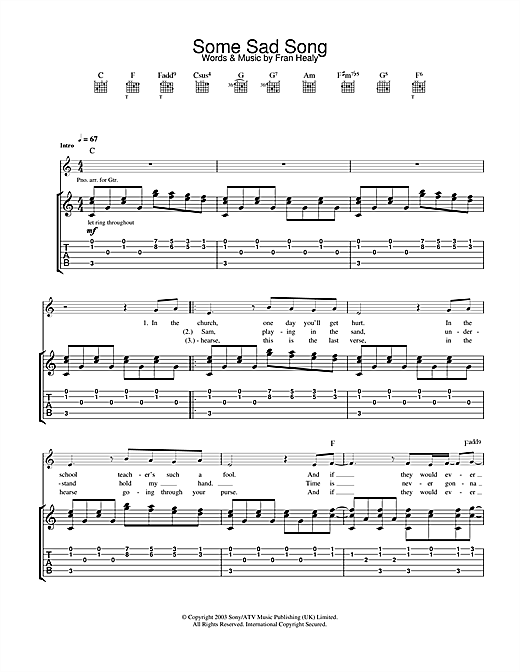 Travis Some Sad Song sheet music notes and chords. Download Printable PDF.