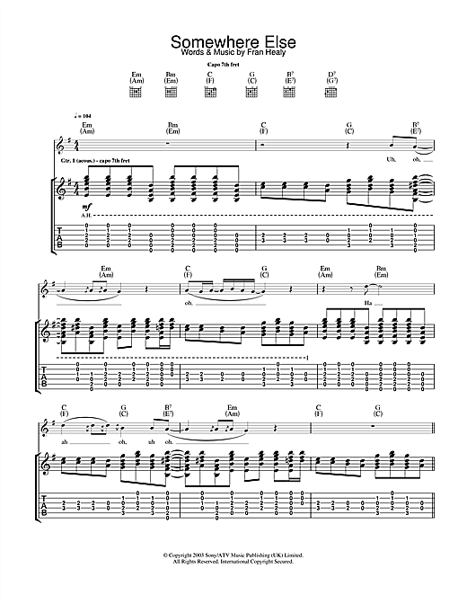 Travis Somewhere Else sheet music notes and chords. Download Printable PDF.