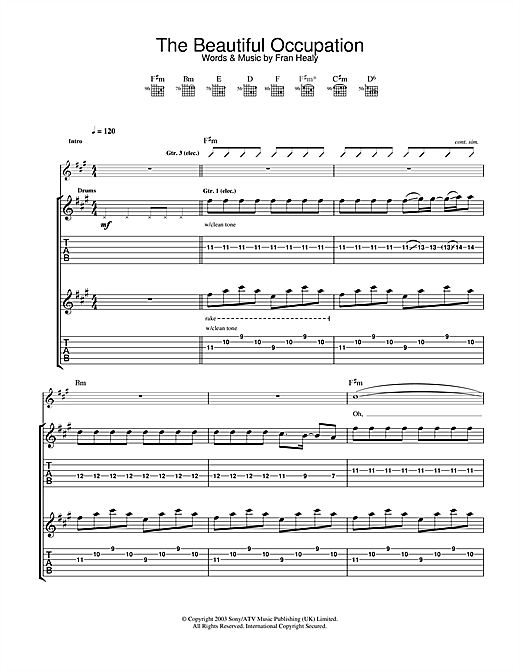 Travis The Beautiful Occupation sheet music notes and chords. Download Printable PDF.
