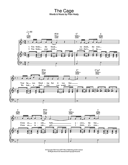 Travis The Cage sheet music notes and chords. Download Printable PDF.
