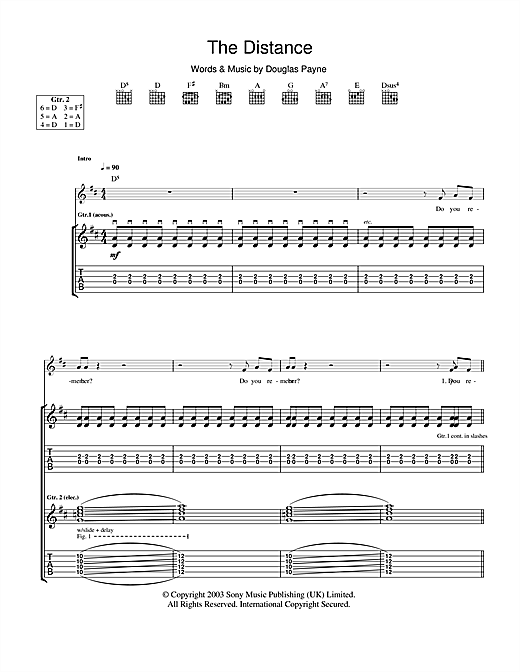 Travis The Distance sheet music notes and chords. Download Printable PDF.