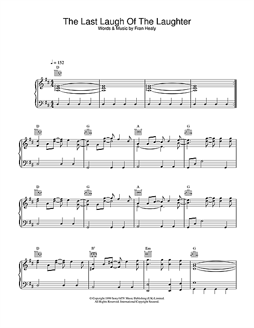 Travis The Last Laugh Of The Laughter sheet music notes and chords. Download Printable PDF.