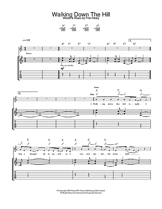 Travis Walking Down The Hill sheet music notes and chords. Download Printable PDF.