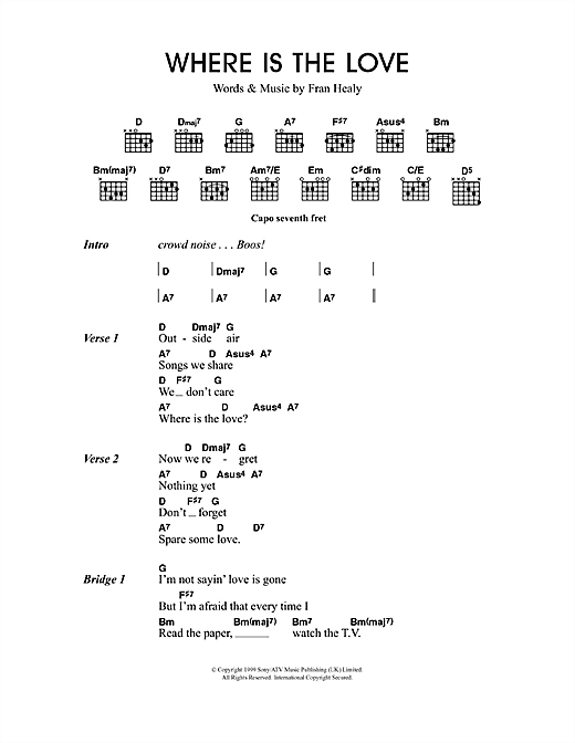 Travis Where Is The Love sheet music notes and chords. Download Printable PDF.