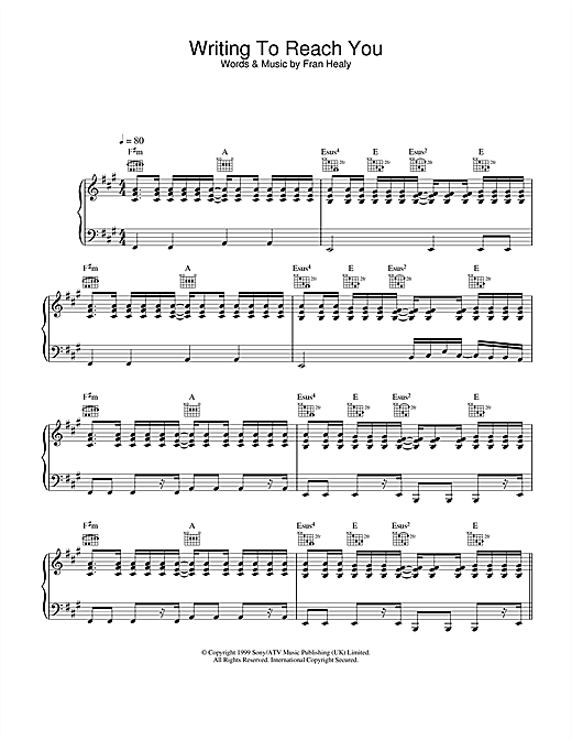 Travis Writing To Reach You sheet music notes and chords. Download Printable PDF.